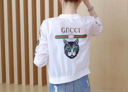 Cat Cardigan woman online shopping - 2018 new wild thin short coat fashion cartoon cat print cardigan sun protection clothing