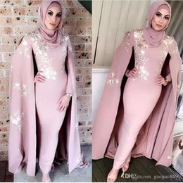 elegant kaftan abaya 2019 - Dubai Kaftan Abaya Dusty Pink Evening Dresses Long Sleeve Sheath Gold Appliques Long Elegant Muslim Formal High Neck Pro