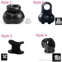 Discount therapy ring delay - 4 Styles Squeeze Ball Enhancer Chastity Cage Scrotum Pouch, Time Delay Penis Ring Cock Ring Adult Sex Products Sex Toys