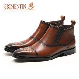 Grimentin Shoes UK - GRIMENTIN Hot Sale Brand Mens Boots 100% Genuine Leather Fashion Designer Black Brown Dress Mens Ankle Boots Formal Business Men Shoes YJ