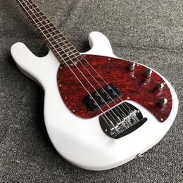 electric bass pickups 2018 - Sterling Ray White 4 String Solid Wood Body Active Pickups Musicman Electric Bass Guitarras Free Shipping Guitare cheap