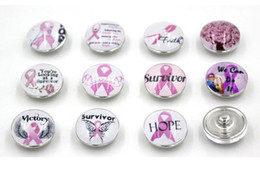 Free Shipping Pink Ribbon Breast Cancer Awareness Snap Buttons Charms 18mm DIY Snaps Interchangeable Buttons for Snap Jewelry Bracelet Rings on Sale