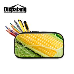 $enCountryForm.capitalKeyWord Australia - Dispalang Corn Print Girls Cosmetic Cases Children Pencil Case School Stationery Pencil Bag for Office Supplies For Kids Student