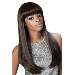 Discount new fashion hairstyles - Glueless new 100% unprocessed virgin human hair fashion natural color bangs natural straight long full lace top wig for