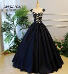 $enCountryForm.capitalKeyWord Australia - Navy Blue Ball Gown Quinceanera Dresses 2018 Satin Lace Appliques Long Prom Dress Sweet 16 Dresses For 15 Years Party Gown