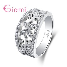 Hollow Fingers Australia - GIEMI Real 925 Sterling Sier Lovely Dazzling Finger Ring For Women S925 Luxury Wide Hollow Design Party Jewelry Hot Sale