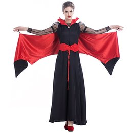 Discount black queen cosplay - Halloween Vampire Costume Queen Long Maxi Dress Party Witch Costumes Women Roleplay Clothes Masquerade Party Cosplay