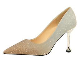 PurPle glitter stilettos online shopping - 8 cm Stiletto Heel Shoes Wedding shoes Gradient color pointed Toes Dress Shoes big size
