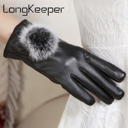 $enCountryForm.capitalKeyWord NZ - 2018 Women PU Leather Gloves Fashion Black Autumn Winter Warm Fleece Gloves For Female Ladies Thin Mittens Guantes G323