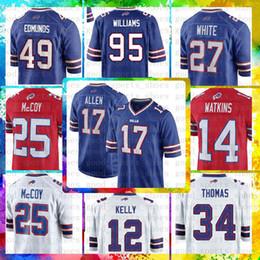 Buffalo Bills Top 17 Josh Allen 49 Tremaine Edmunds Jersey 12 Jim Kelly 25  LeSean McCoy 95 Williams 34 Thurman Thomas 99 Dareus 27 White cf0511a50