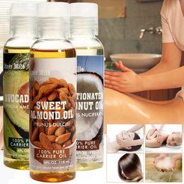 Amêndoa Coco Castor Abacate Grape Seed Massagem Óleos Spa Pure Natural Base de Óleo Esssential Cuidados Com A Pele Do Cabelo Do Corpo Aromathera Prensa Fria 118 ML em Promoção