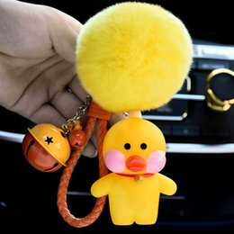 chicken key chains 2019 - Cute Cartoon Chick Chicken Rabbit Fur Ball PomPom Pom poms Keychain Women Leather Strap Metal Key Ring Chains Car Bag Ch