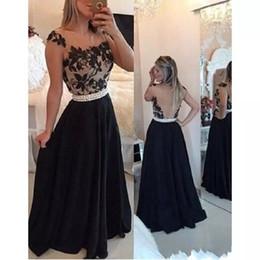 5714ec1b743f Vestido Con Espalda Descubierta De Encaje De Gasa Negra Online ...