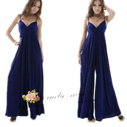 cc5a334f090 Wholesale- Woman V-Neck Jumpsuit Loose Strap Sexy Lady Evening Party Gown  Sleeveless Summer Wide Leg Trousers Overalls