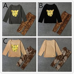 $enCountryForm.capitalKeyWord NZ - Girls fashion Shiny Leopard Print legging 2pc suits long sleeve T shirt Trousers baby girls cotton Casual Outfits 3colors 5 sizes for 3-6T
