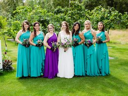turquoise wedding dress beach 2019 - Turquoise One Shoulder Bridesmaid Dresses Chiffon Country Style Ruched Tiered Skirt Maid of Honor Gown Floor Length Wedd