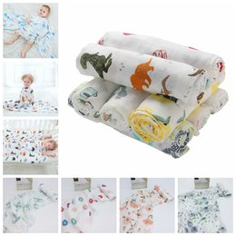 Discount infant stroller cover - 115*115cm 22 Styles Bamboo Cotton Baby Printed Blanket Muslin Swaddle Wrap Soft Thin Newborn Blankets Infant Stroller Co