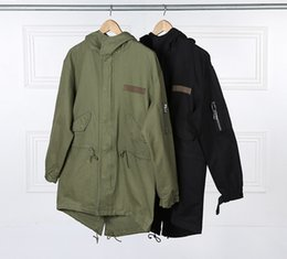 Button trench coat men online shopping - Europe American Tooling Military Style Men s Army Green Hooded Jacket Long Trench Jacket Coat Asymmetric Dovetail Jacket