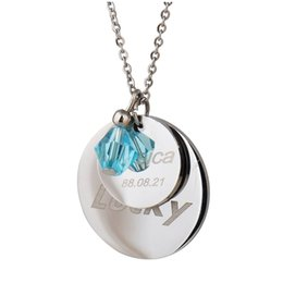 Birthstone Gifts NZ - Custom Personalized Initial Letters Dog Tag Necklace Engraved Disc with Birthstone Monogram Initial Jewelry Birthday Valentine Gift NL2650