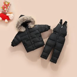 Wholesale New Children s Down Jackets Suit Baby Boy Warm Winter Coat Pants Set Thick Kids Clothes Set