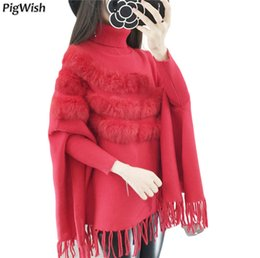 bat sleeve style tops Canada - 2018 Autumn Winter Women High Collar Rabbit Fur Cloak Pullover Lady Bat Sleeves Tassel Poncho Sweater Knitwear Tops Oversized Sweater