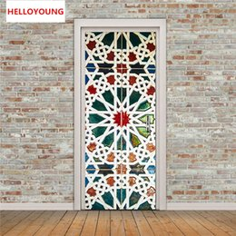 3d Glasses Green NZ - Kaleidoscope Glass Imitation 3D Door Stickers 2pcs set DIY Mural Bedroom Home Decorative PVC Waterproof Wall Stickers