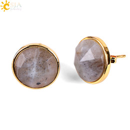 Wholesale CSJA Femme K Gold Ear Jewelry Diamond Cutting Carved Surface Natural Gemstone Stud Earrings Nature Red Black Agate Piercing Earring E597