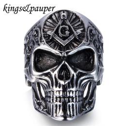 Freemason Rings Wholesale Australia - whole salePunk Hip Hop Engrave Masonic Freemason Skull Ring Vintage Gothic Hiphop Free Mason Freemasonry Stainless Steel Men Jewellery