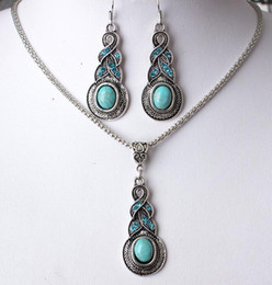 Green Turquoise Copper Earrings NZ - 30 set lot, Necklace Pendant Retro Earring suit Inlaid Turquoise blue crystal Water Drop Earring Shining Not fading Two pieces jewelry suit
