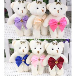 Mini Bear Bouquet Australia - 8pcs mixed color Small Plush Mini teddy bear stuffed Toys ,Wedding Flower Bouquet little toy Satin Cartoon keychain pendant