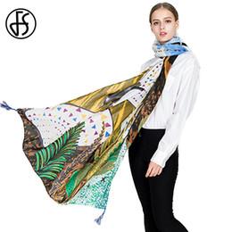 5afa77e05da FS Women Cotton Linen Scarf Fashion Shawls Wrap Designer Ethnic Print Long  Scarves Lady Brand Long Pashmina Poncho With Tassel