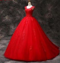 Strapless Sequin Red Dress Australia - Red Lace Quinceanera Dresses Sweet 16 Dresses for 15 years Masquerade Ball Gown Quinceanera Gowns Sale vestidos de 15 anos