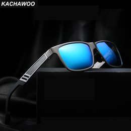 blue rectangle sunglasses NZ - Kachawoo Aluminum Magnesium Sunglasses Men Polarized Driving Blue Red Mirror Sun Glasses Male Rectangle With Box