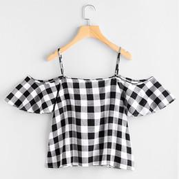 Blouses Cold Australia - Women Summer Pinstripe Blouse Cold Shoulder Top camisa xadrez feminina blusas femme de moda 2019 camisetas mujer cold shoulder