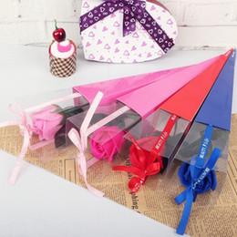 Confezione regalo floreale Bella cono singolo con fiore rosa regalo per San Valentino Confezione regalo in legno per fiori in Offerta