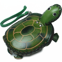 Handmade leatHer coin purse wHolesale online shopping - Genuine Leather Handmade D Turtle Coin Purse Mini Wristlet Strap Zip Closure Clutch Bag Cartoon Animal Keychain Cardholder Kid Gift Wallets
