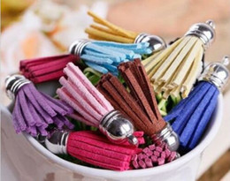 Tassels for jewelry making online shopping - 100pcs Suede Tassel For Keychain Straps Jewelry Charms Leather Tassel mm DIY Jewelry Bracelet Making findings