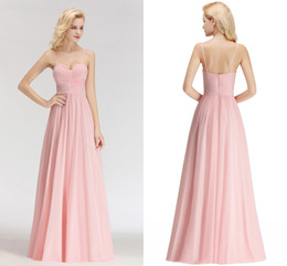 Wholesale Sexy Real Pictures Pink New Arrival Cheap Bridesmaid Dresses Spaghetti Straps Backless Wedding Guest Prom Evening Wear Dress BM0046