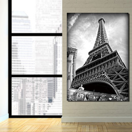 piece canvas eiffel tower 2019 - 1 piece canvas painting Eiffel Tower black and white posters and prints canvas painting for living room XA1877D cheap pi