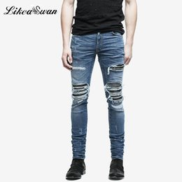 30eaa26cac Likeaswan Fashion Ripped Jeans para hombre Brand Slim Hole Mens Jeans Baggy  All Seasons Cotton Streetwear Hombre Vintage Blue