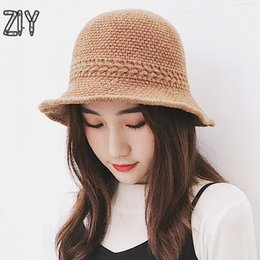 Korean Brands Hats Australia - Wool Warm Winter Hat Women Casual Brand Bucket Knitted Soft Solid Streetwear Hat Messy Bun Korean Autumn Messy Bun Panama
