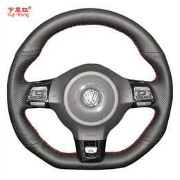polo scirocco UK - Yuji-Hong Car Steering Wheel Covers Case for VW Golf 6 GTI MK6 VW Polo GTI Scirocco R Passat CC R-Line 2010 Artificial Leather