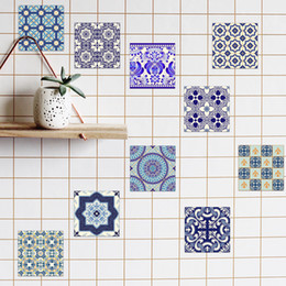 Tiles Design For Kitchen Wall NZ - 3D Self -Adhesive Blue and White Porcelain Wall Decal Art Waterproof Tile Stickers Kitchen Bathroom Furniture Home Decoration