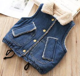 $enCountryForm.capitalKeyWord Australia - Girl clothes Children's cowboy lamb hair boy vest girls middle and small children 2018 autumn and winter baby vest letters warm coat