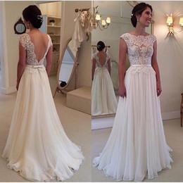 f3f7249c06f6 Hot Sale White wedding dresses lace illusion neck Sexy Cheap Country Beach  Bridal Party Gowns Chiffon Simple vestido de novia Plus Size 2019