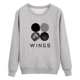 korean hoodie ladies UK - 2018 Autumn Winter Women Pullovers Sweatshirt O-Neck Casual Wings Print Hip Hop Clothess Korean Popual Ladies Hoodies IU820662