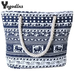 Large Flower Appliques NZ - 2018 New fashion Canvas Casual Bags for Women Handbag Shoulder Bags Elephant Flower Pattern Large Female Shoulder Portable Bag D18101303