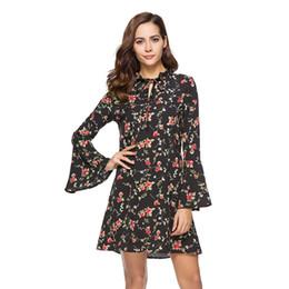 77ca51527e8 Long Flare Sleeve Womens Bohemian Beach Dress 2018 Summer Ladies Floral  Shirt Dresses Boho Robes Femme Causal Mini Dress Vestido