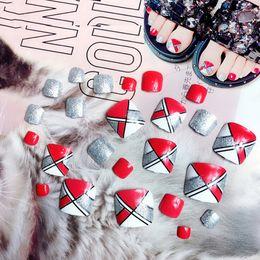 $enCountryForm.capitalKeyWord Australia - 24 Pcs Set False Fake 3D Foot Toe Nails Full Cover Tips Lady Girl Professional Acrylic Summer Nail Art Tips Newest