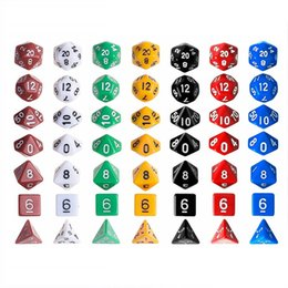 dungeons dragons dice 2018 - 7pcs Set Resin Polyhedral TRPG Games For Dungeons Dragons Opaque D4-D20 Multi Sides Dice Pop for Game Gaming discount du
